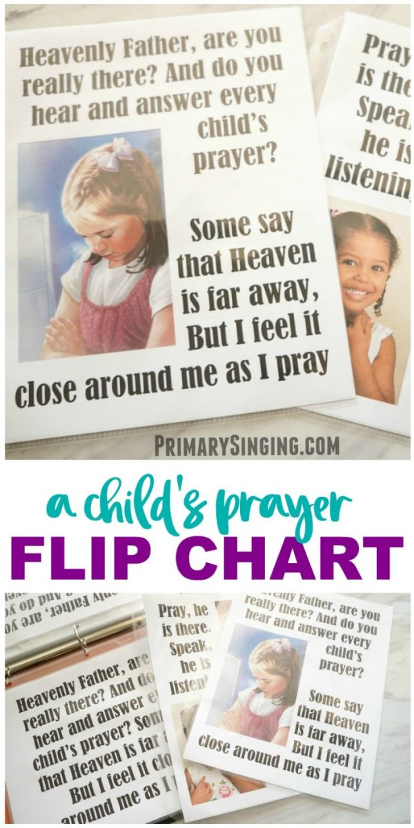 A Child's Prayer - Flip Chart for LDS Primary Music Leaders and choristers! Singing Time essential. #lds #imamormon #Primary #musicleader #primarychorister #chorister #flipchart