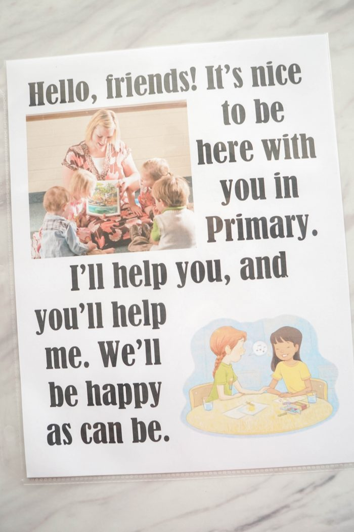 Hello, Friends Flip Chart welcome song printable for Singing time for primary choristers / music leaders. #LDS #Primary #MusicLeaders #PrimaryChorister #Chorister #ImaMormon #SingingTime