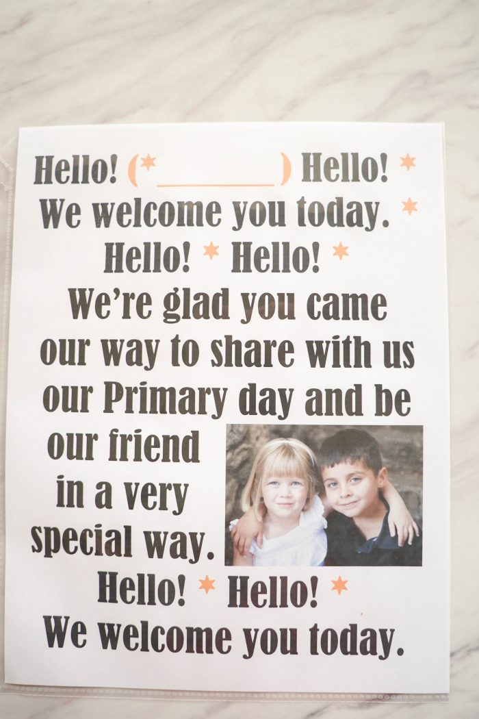 Hello Song printable welcome song Flip Chart for Singing time for primary choristers / music leaders. #LDS #Primary #MusicLeaders #PrimaryChorister #Chorister #ImaMormon #SingingTime