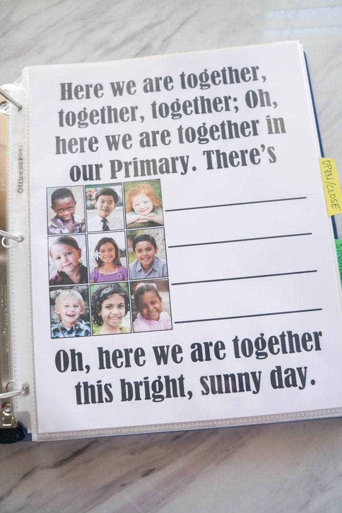 Here We Are Together Flip Chart welcome song printable for Singing time for primary choristers / music leaders. #LDS #Primary #MusicLeaders #PrimaryChorister #Chorister #ImaMormon #SingingTime