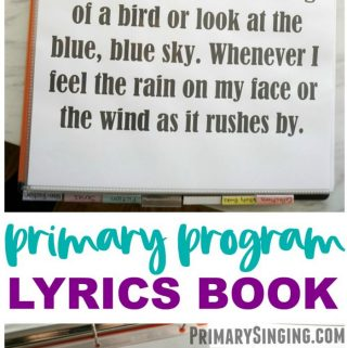 Primary Program Lyrics Book