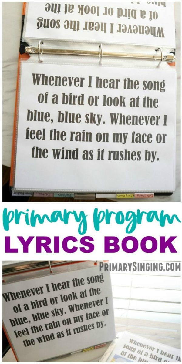 Primary Program Lyrics Book - a great resource for Primary music leaders / choristers to use during the program presentation while conducting! #music #primaryprogram #primary #musicleader #primarychorister #lds #imamormon #primarylyrics