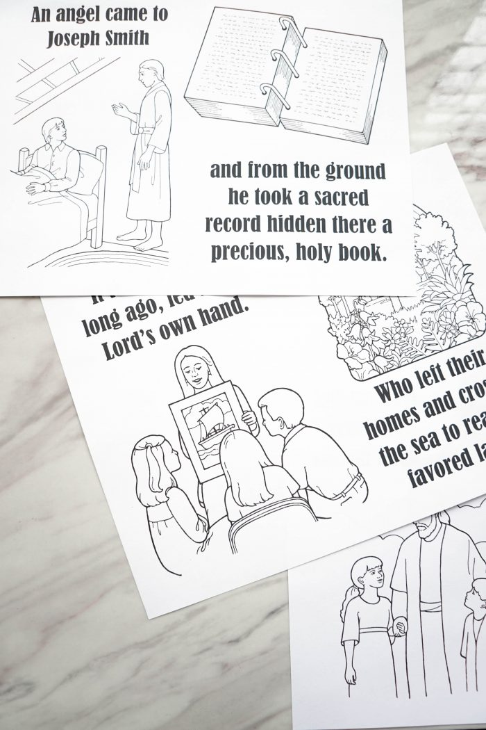 Show & Sing game and coloring page for An Angel Came to Joseph Smith - Singing time lesson plan for primary choristers / music leaders. #LDS #Primary #MusicLeaders #PrimaryChorister #Chorister #ImaMormon #SingingTime