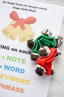 Fun jingle bells pattern and game idea for teaching An Angel Came to Joseph Smith song! Singing time lesson plan for primary choristers / music leaders. #LDS #Primary #MusicLeaders #PrimaryChorister #Chorister #ImaMormon #SingingTime