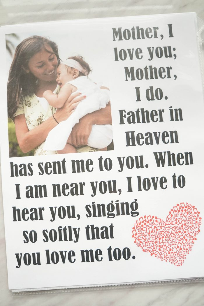 Mother, I Love You song flip chart printable for Singing time lesson plans for primary choristers / music leaders. #LDS #Primary #MusicLeaders #PrimaryChorister #Chorister #ImaMormon #SingingTime