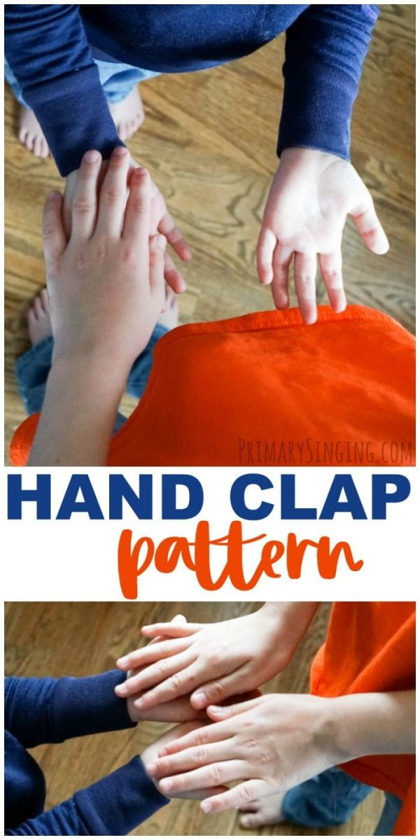 A fun and easy hand clap pattern to teach When I Am Baptized Primary songbook song and help the kids notice beat and rhythm. Lesosn plan for primary music leaders / choristers. #LDS #Primary #ImaMormon #PrimaryChoristers #SingingTime