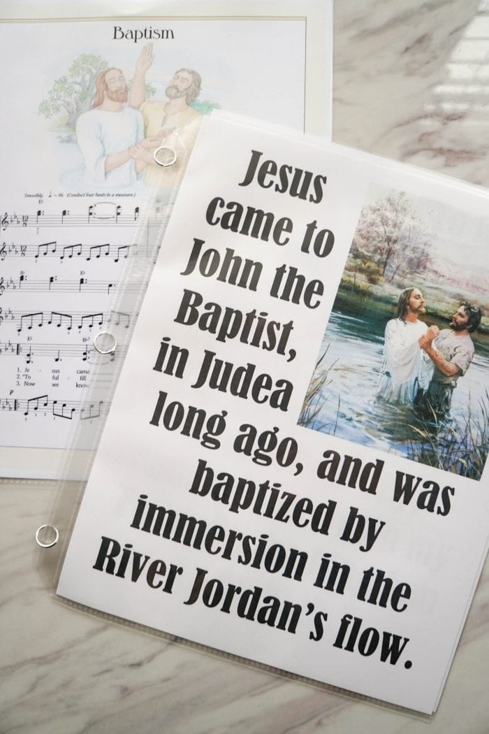 Baptism Song Flip Chart for LDS Primary Singing Time choristers / music leaders