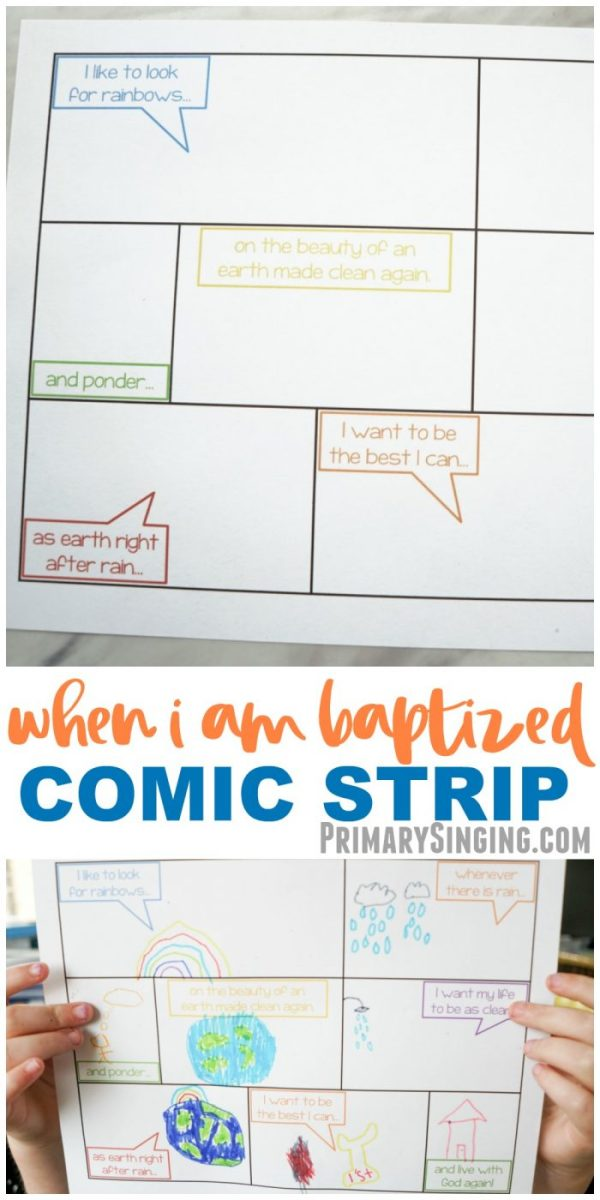 When I Am Baptized Comic Strip - a fun singing time game and lesson plan for LDS Primary choristers / music leaders! #PrimarySinging #LDS #Primary #SingingTime