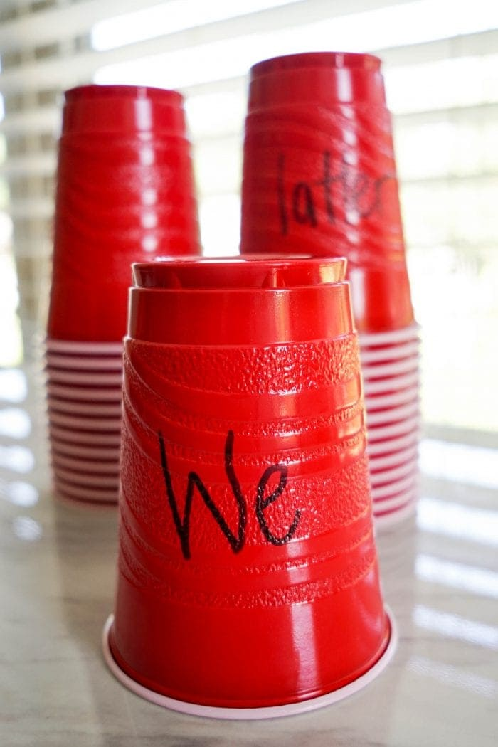 05 We'll Bring the World His Truth stacking cup game for Primary singing time lesson plans!