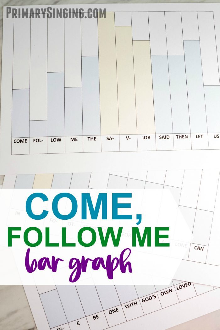 Try this Come, Follow Me Hymn Bar Graph to engage the logical thinkers! Printable LDS Primary Music Leader lesson plan and ideas!