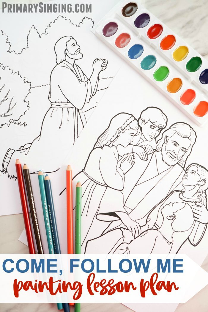 Come Follow Me Painting Lesson Plan - Paint, color, or trace these pictures of Christ's life as you introduce the hymn, Come, Follow Me. Or use this lesson plan idea in your home bible study! Great for LDS families and Primary Music Leaders.