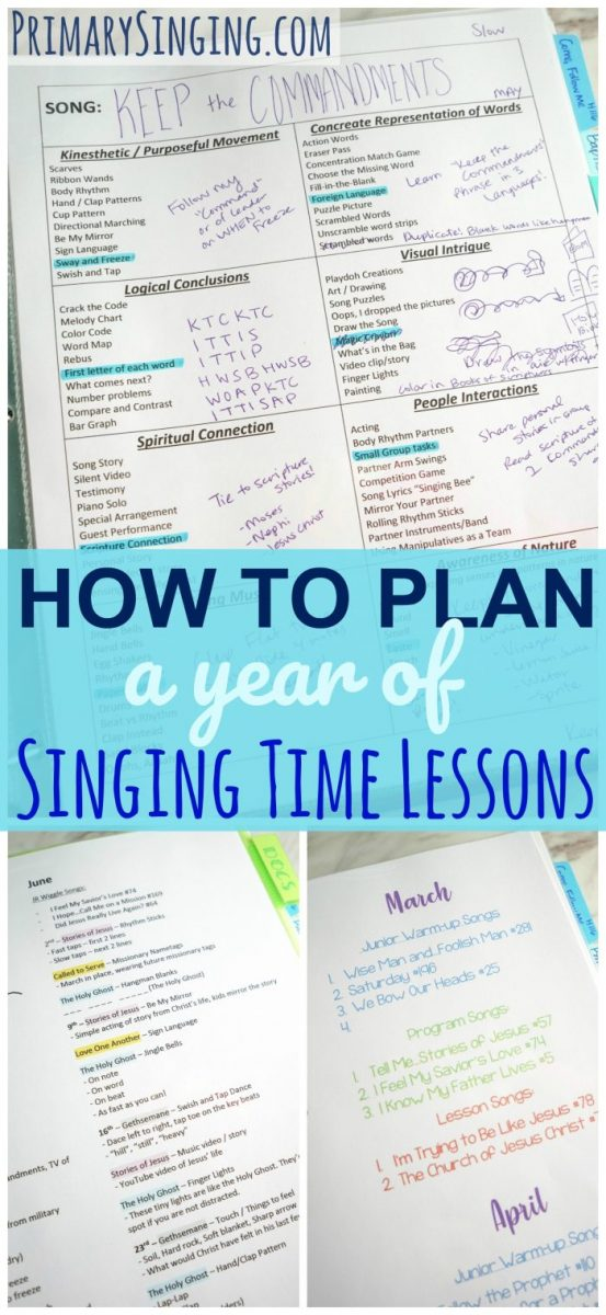 How to easily, and quickly, plan a year of Primary Singing Time Lesson plans! Primary Music Leaders can plan out all the activities and lesson ideas for the whole year in just a couple hours following this guide and included free printables!