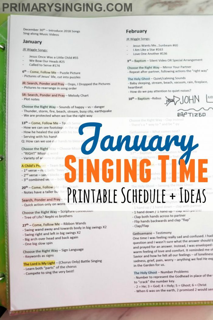 January 2019 - Come, Follow Me New Testament Singing Time Schedule for Primary Music Leaders. A packed resource of ideas for home and Primary use!