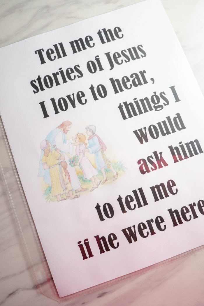 Tell Me the Stories of Jesus - Free Printable Flip Chart for LDS Primary Music Leaders! Help the kids learn this beautiful Primary song with this helpful resource!