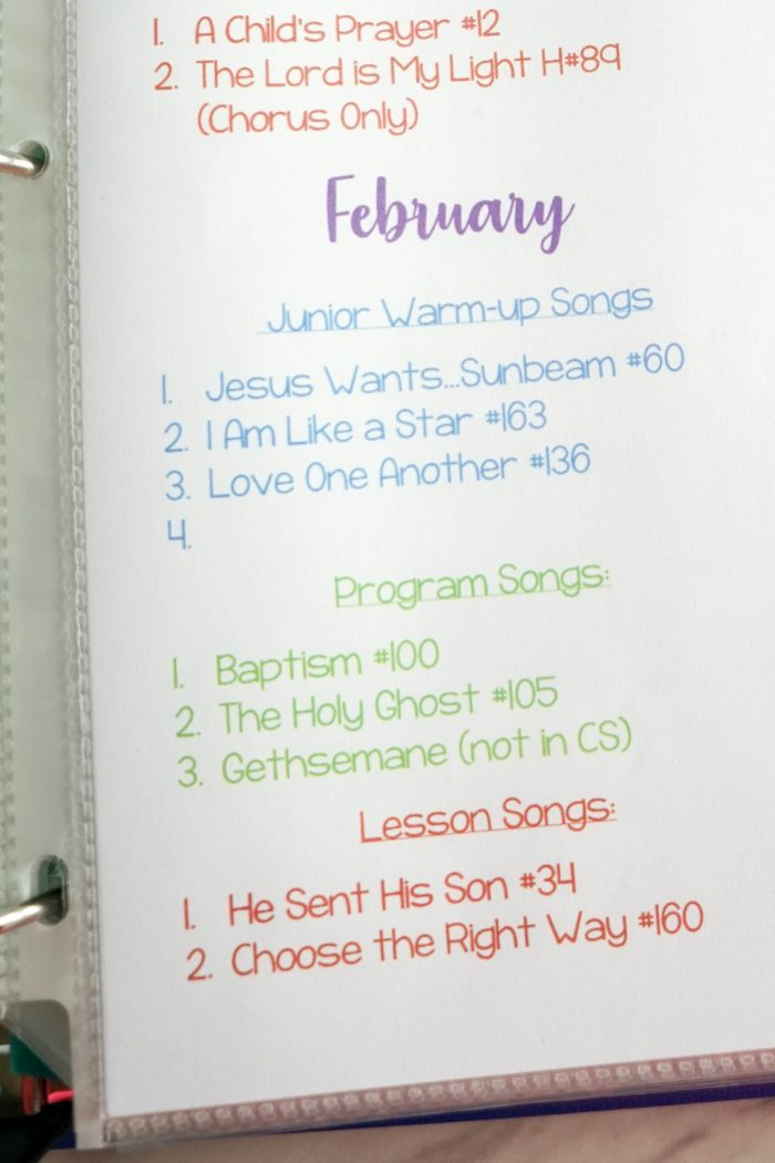 February Singing Time Lesson Plans
