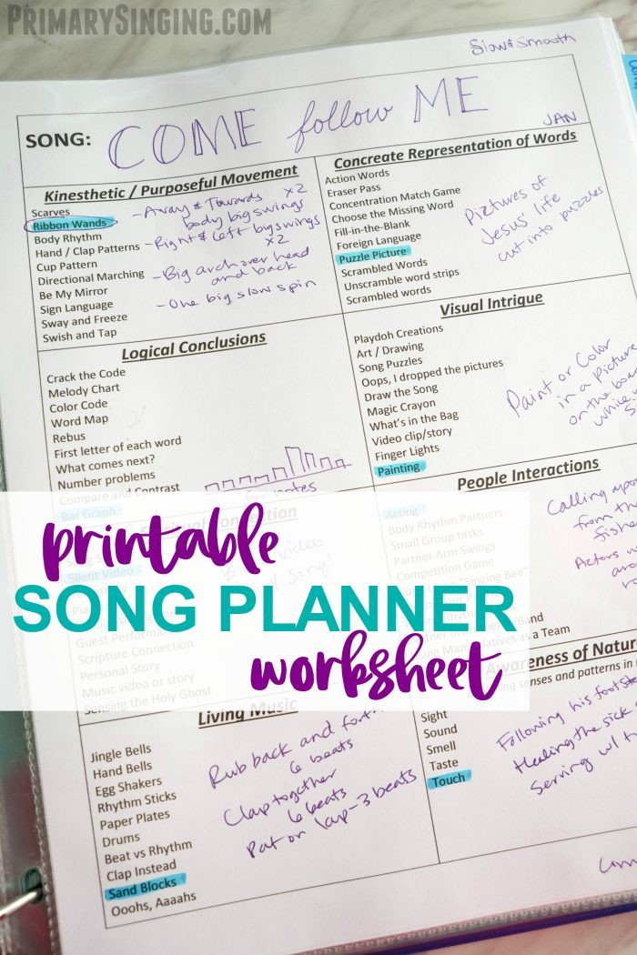 Printable Song Planner Worksheet - Primary Singing Time resource for Music Leaders! Easily plan 8 different activities in minutes with this free printable.