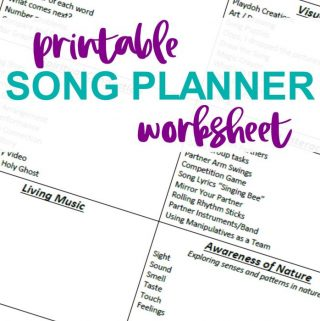 Primary Singing Time Song Planner Printable
