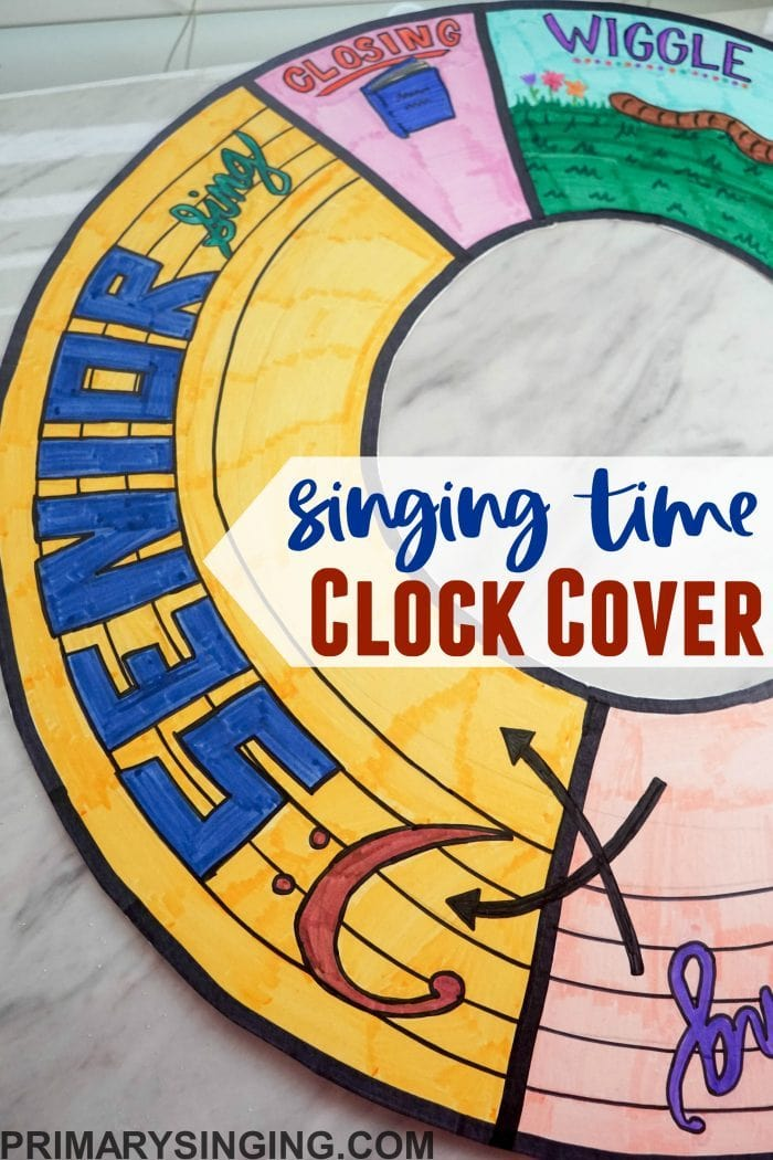 Primary / Singing Time Clock Cover to easily see the schedule at a glance! Be on time and organized with this easy DIY idea for Primary Music Leaders and Presidencies!
