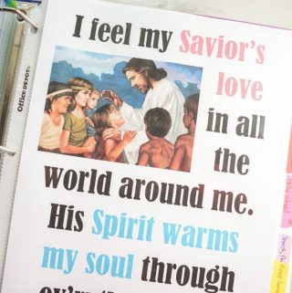 I Feel My Savior's Love Printable flip chart for LDS Primary music leaders Singing Time!