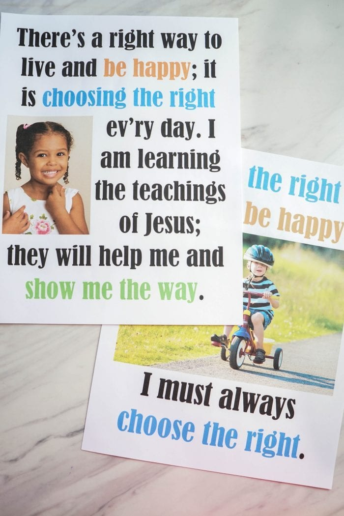 Choose the Right Way - Flip Chart for LDS Primary music leaders