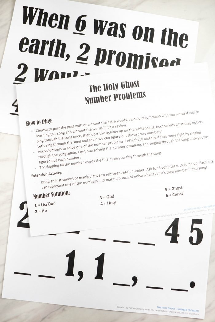 The Holy Ghost Number Problems logical activity for those critical thinkers! Primary Singing Time activity lesson and idea for LDS Music Leaders and fun for an FHE or Home Study of Come Follow Me!
