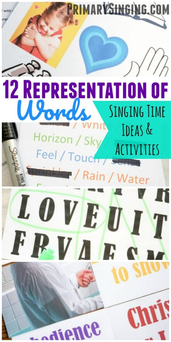 12 Representation of Words Primary Singing Time Ideas and Activities for Primary music leaders / choristers! Teach them with the different learning styles in this series post! #lds #singingtime #primary