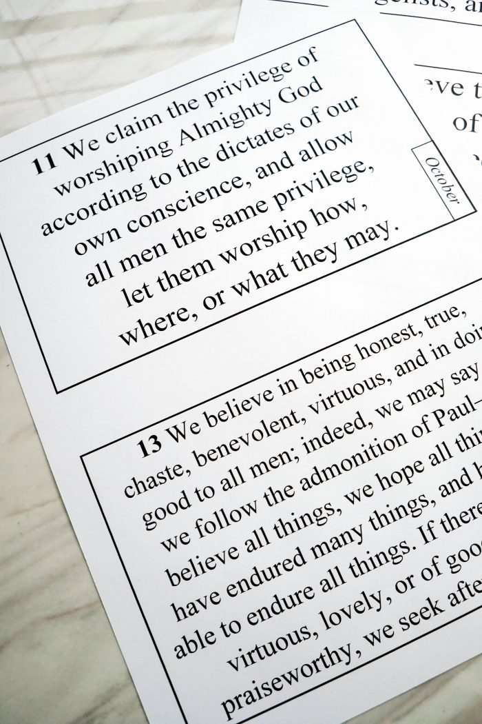 image relating to 13 Articles of Faith Printable named Regular Posting of Religion for the Podium
