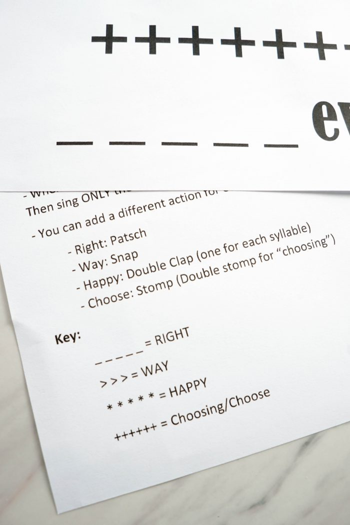 Choose the Right Way - Missing Words Activity Idea and Lesson Plan for LDS Primary Music Leaders Singing Time!