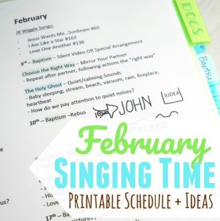 Singing Time Monthly Plan – February 2019