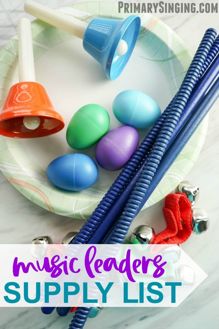 Primary Music Leaders essential supply list and dream wishlist! All the resources you may want for a well rounded Primary closet! Perfect for LDS families and leaders and for home use, too.