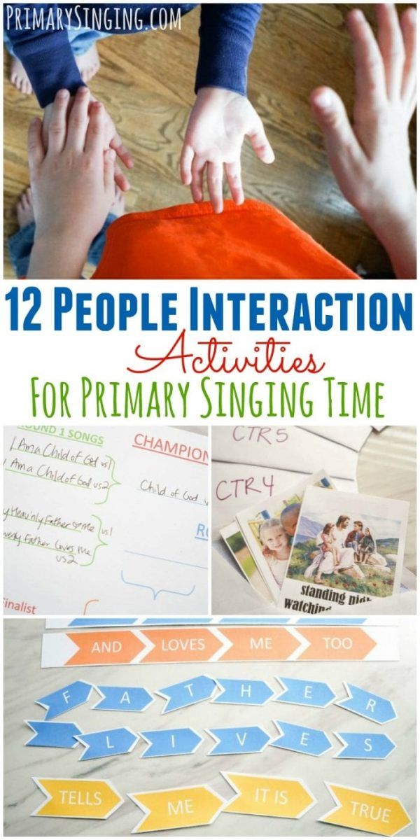 12 people interaction / group activities for Primary Singing Time. Lots of ideas for LDS Music Leaders and all music teachers!