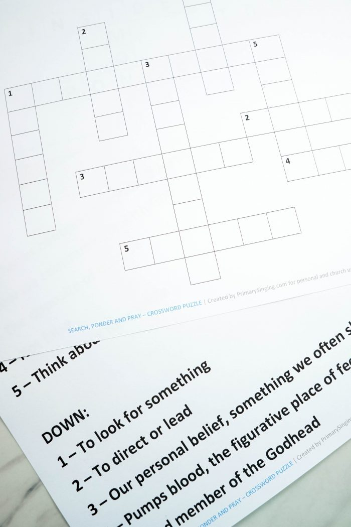 Printable Search, Ponder & Pray Crossword Puzzle game for LDS Families and Primary Music Leaders. Great resource for Come, Follow Me home study.