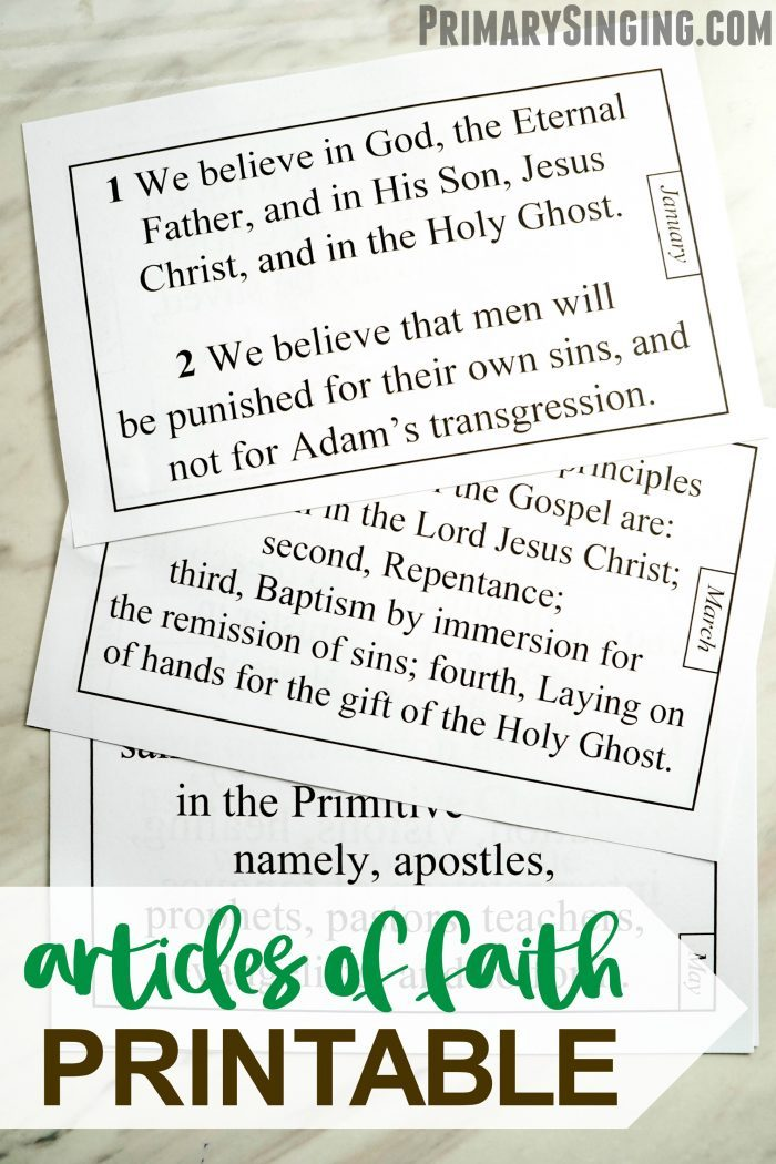 Half-sheet printable Articles of Faith helps your Primary or home study efforts as you recite and practice the Articles of Faith each month! Perfect for LDS Music Leaders and for those studying the Come, Follow Me New Testament curriculum.