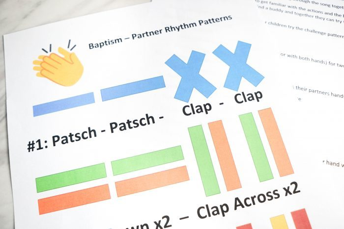 LDS Baptism Song - Body Rhythm Partners patterns free printable lesson plan for Primary Singing Time!