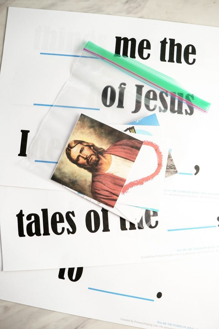 Tell Me the Stories of Jesus - Pick a Picture lesson plan and activity for LDS Primary Singing Time music leaders and home study of Come, Follow Me for families!