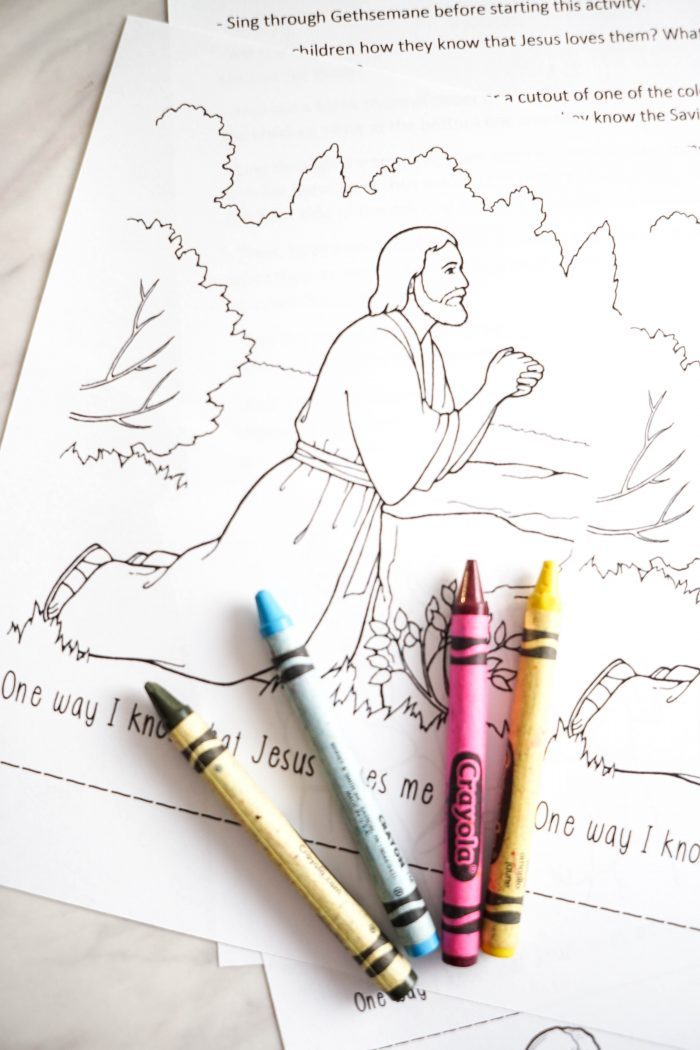 Gethsemane - Jesus Loves Me Coloring Pages - An easy activity and lesson plan for LDS Primary Singing Time for Music Leaders! Also a fun extension activity for Come, Follow Me study.