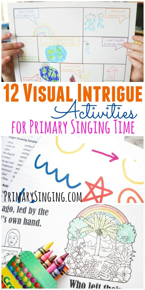 12 different activity and lesson plan ideas you can adapt to any song based on using the visual learning style! Perfect for LDS Primary Singing Time music leaders and for homeschool moms!
