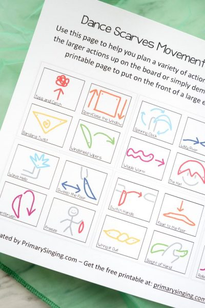 24 different dance scarves movement action cards! Free printable resource for Primary music leaders, homeschoolers, and preschool teachers.