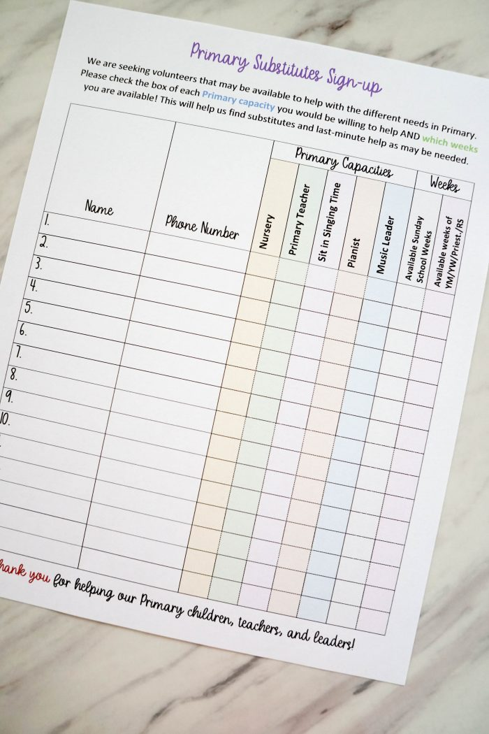 Primary Helpers Sign Up Sheet Printable