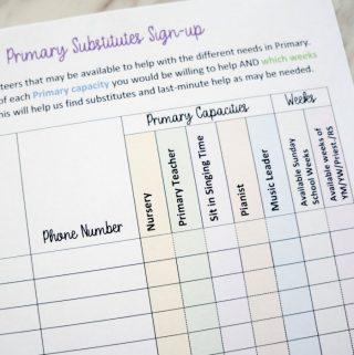 Primary Volunteers Signup Sheet