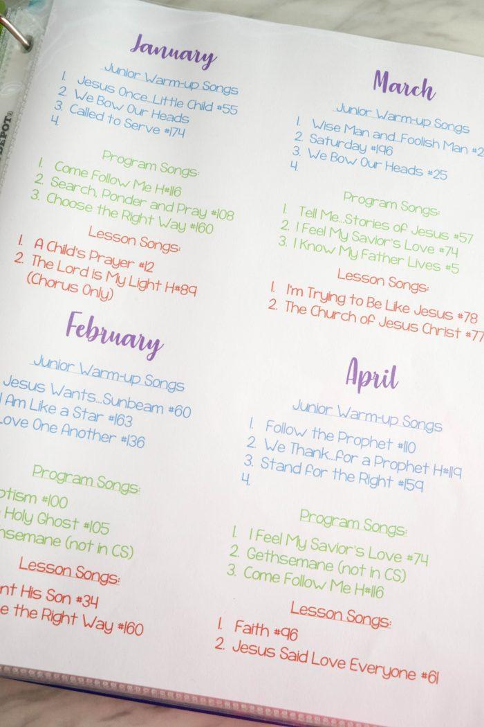 Singing Time Monthly Plan – April 2019