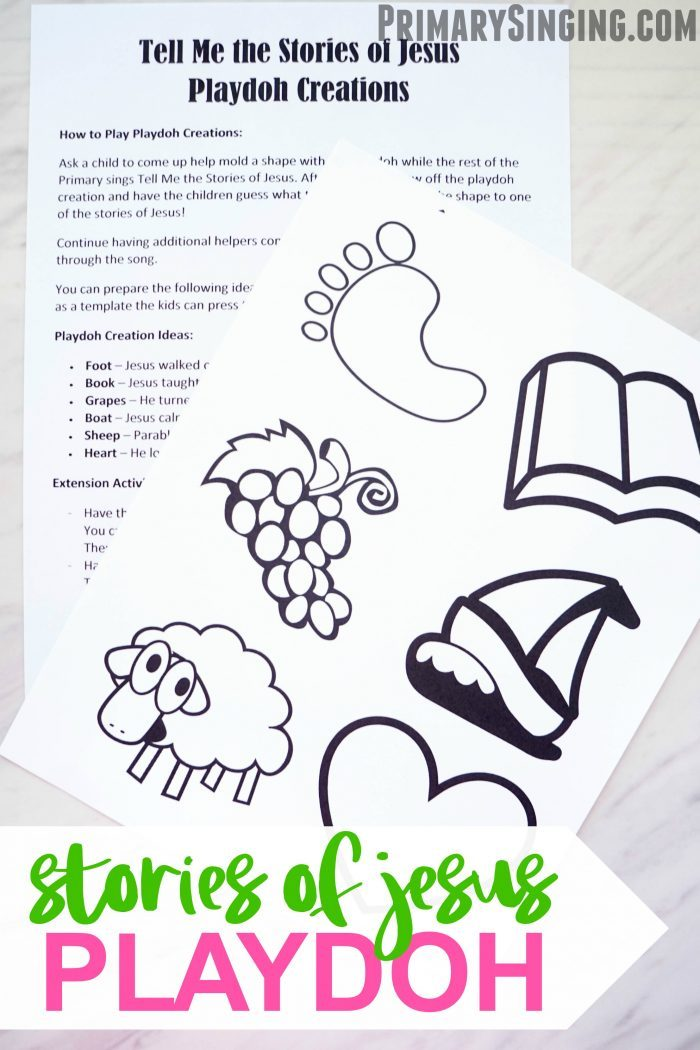 Tell me the Stories of Jesus - Playdoh Creations activity and lesson plan idea for Primary Singing Time music leaders! Also fun for home study of Come, Follow Me for LDS families. #lds #primary #singingtime #primarychorister