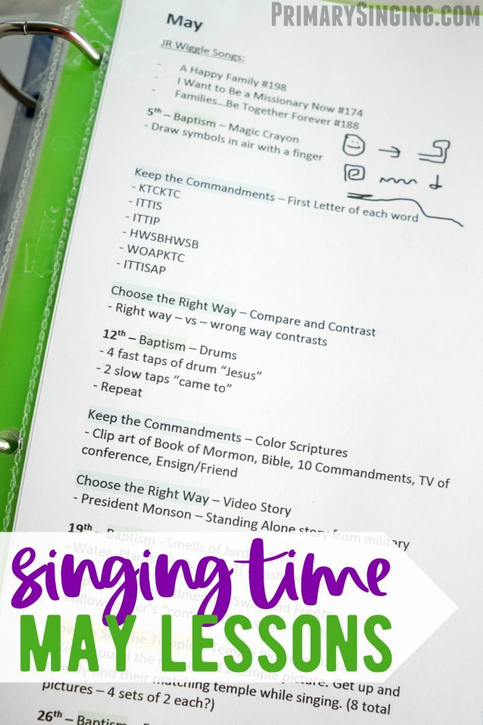 May Singing Time Lesson Plans