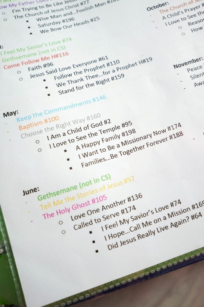 May Singing Time song list
